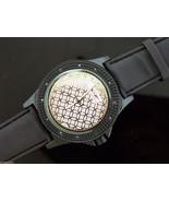 Men's King Master 50mm Round 12 Diamonds watch black tone case fancy face - $39.59