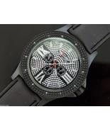 Men's King Master 50mm Round 12 Diamonds watch black tone case black face - $39.59