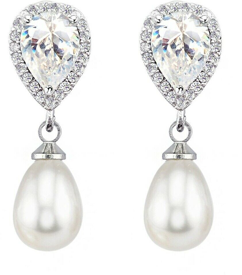 Primary image for SELOVO Wedding Teardrop Simulated Pearl Dangle Earrings For Women Cubic Silver