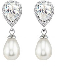 SELOVO Wedding Teardrop Simulated Pearl Dangle Earrings For Women Cubic ... - $32.91