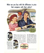 1950 General Tire Mom driving kids outing artistic print ad - $10.00