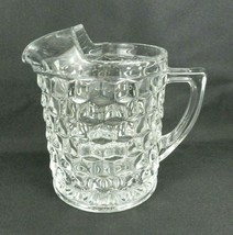 "Vtg Fostoria American Pitcher Clear Glass Cube 8.5"" H Straight Sided Fla... - $36.62"