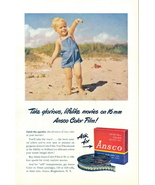 1947 Ansco 16mm color films baby at beach print ad - $10.00