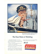 1946 Ansco Color Film man doing model boat print ad - $10.00