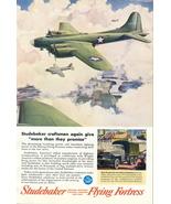 1943 Studebaker Flying Fortress B-17 aircraft print ad - $10.00