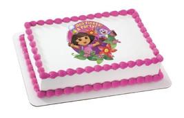 DORA-FIESTA FLOWERS Edible Image Cake Topper - $8.99