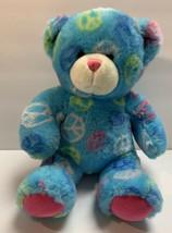Build A Bear Workshop Light Blue Peace Sign Bear Pink Paws Stuffed Anima... - $17.99