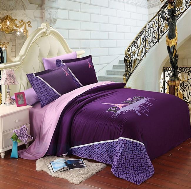 UNIQUE Purple Eiffel Tower Paris Design FullQueen Duvet