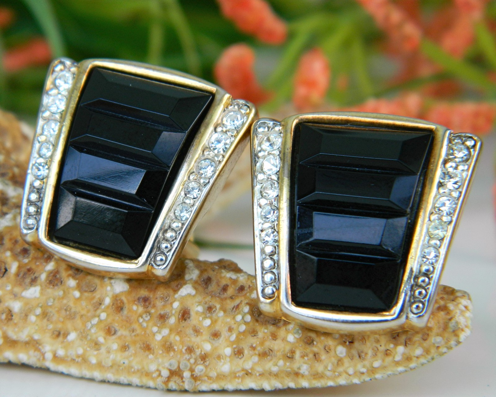 Primary image for Vintage Black Gold Rhinestone Craft Clip Earrings Gem-Craft