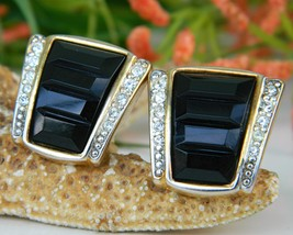 Vintage Black Gold Rhinestone Craft Clip Earrings Gem-Craft - $17.95