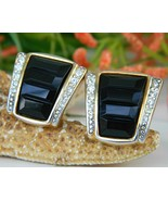Vintage Black Gold Rhinestone Craft Clip Earrin... - $17.95