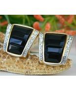 Vintage Black Gold Rhinestone Craft Clip Earrin... - $17.95