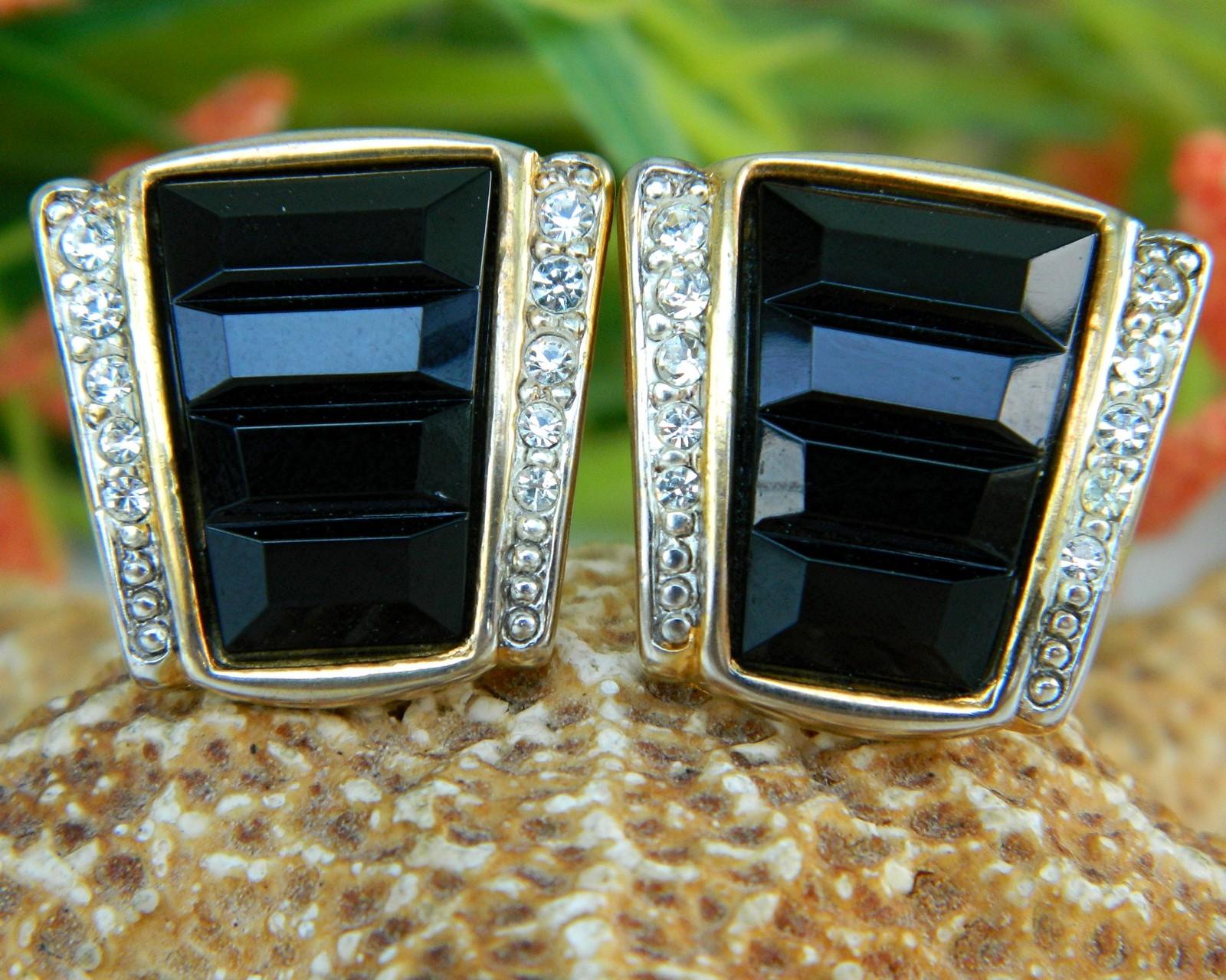 Vintage Black Gold Rhinestone Craft Clip Earrings Gem-Craft