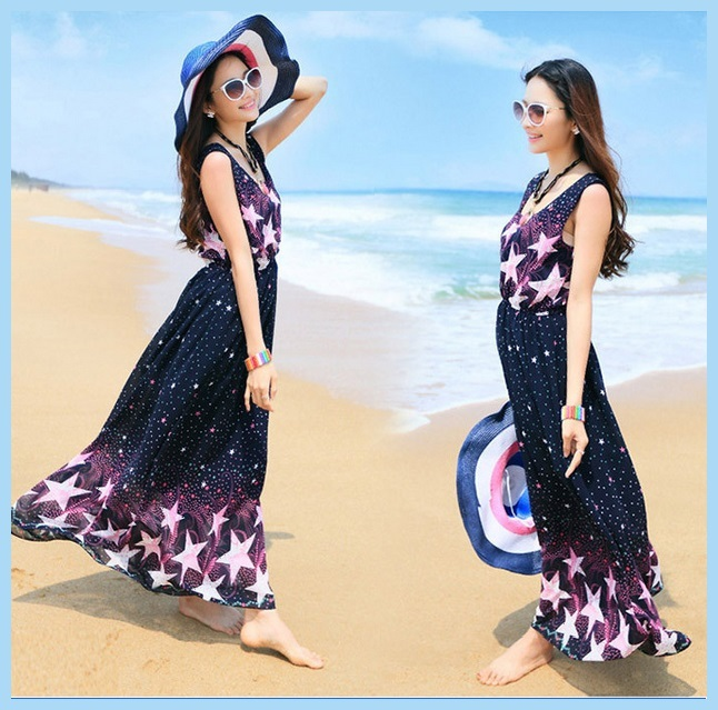 Summer Chiffon Sleeveless Stars Print Bohemian Ankle Length Maxi Beach Dress