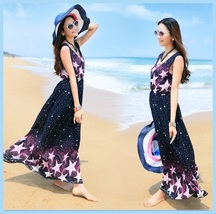 Summer Chiffon Sleeveless Stars Print Bohemian Ankle Length Maxi Beach D... - $48.95