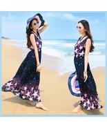 Summer Chiffon Sleeveless Stars Print Bohemian Ankle Length Maxi Beach D... - $48.95