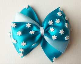 "NEW ""Ice Snow Flakes with Dual Blue Satin Bow"" Hair Clip Accessories - $8.45"