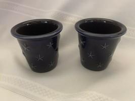 Longaberger Pottery Cobalt Blue Proudly American Eagle Star Ramekin Dish... - $14.03