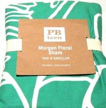 POTTERY BARN Teen Morgan Gumdrop Green Floral Standard Pillow Sham 26 x 20 White - $19.79
