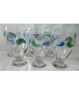 Libbey Crisa Paisley Blue Green Mid Century Iced Tea Goblet, Set of 6 - $45.43