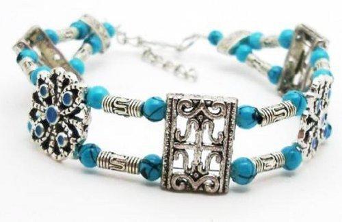 Antique Style Fashion Jewelry Faux-Turquoise Beads Bracelet