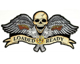 LRG SKULL & WINGS GUNS LOADED & READY MOTORCYCLE JACKET BIKER VEST BACK ... - $32.66