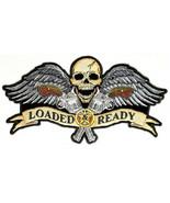 LRG SKULL & WINGS GUNS LOADED & READY MOTORCYCLE JACKET BIKER VEST BACK ... - $32.66
