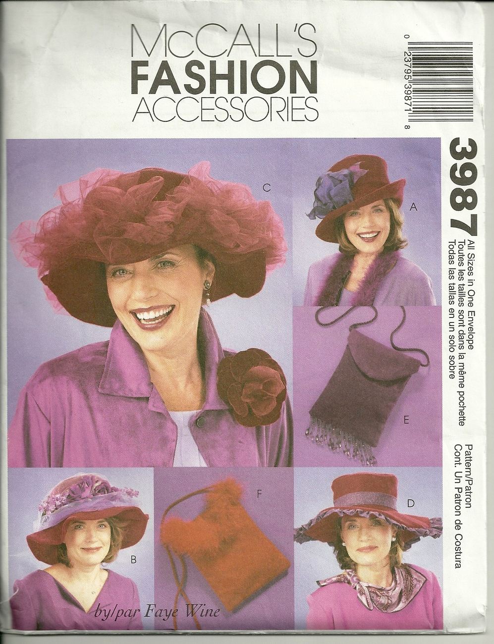 McCall's Fashion Accessories ~ Hats & Purses # 3987 / 2003