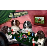 Home of English Springer Spaniels 4 Dogs Playing Poker Art Portrait Prin... - $117.81