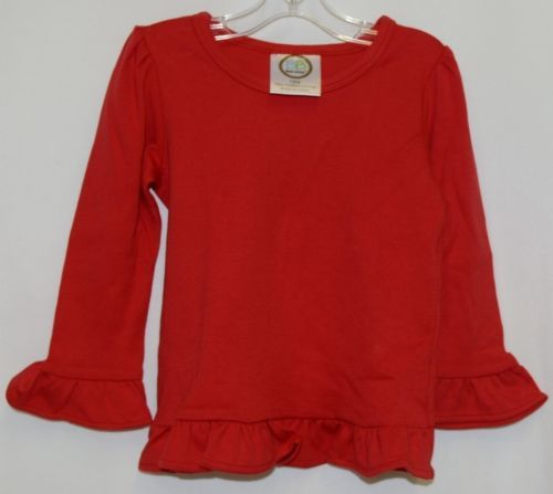 Blanks Boutique Red Long Sleeve Cotton Ruffle Shirt Size 18M