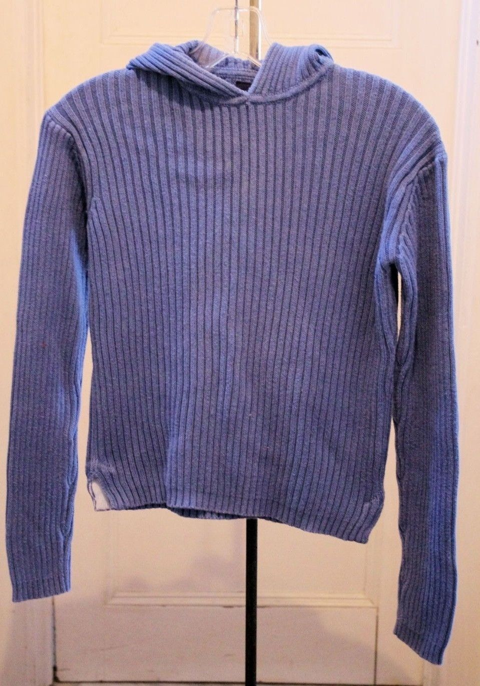 Gap Kids Girls Sx XXL Top Blue Hooded Ribbed Cotton Knit Long Sleeves School