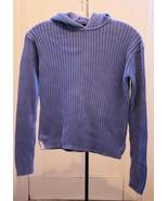 Gap Kids Girls Sx XXL Top Blue Hooded Ribbed Cotton Knit Long Sleeves Sc... - $6.16