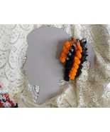 Halloween Spiral Curlicue Handmade Hair Clips w/ spider web ribbon accents - $8.00