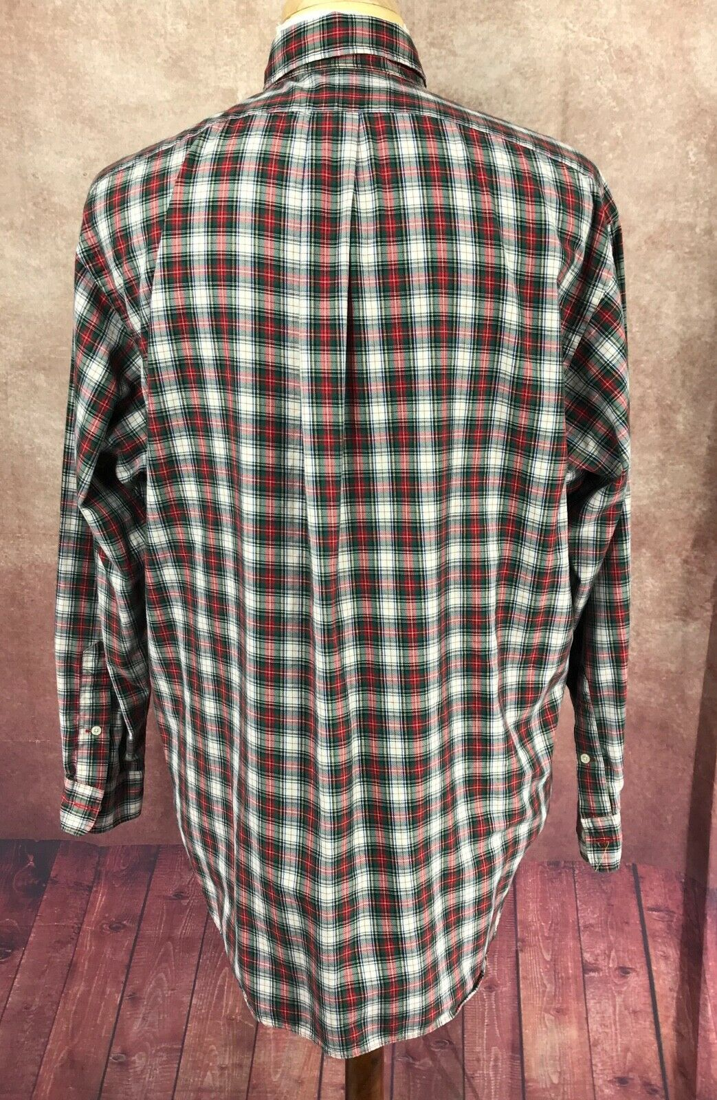 Ralph Lauren Polo Button Down Long Sleeve Cotton Red Check Shirt Men's L/XL