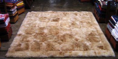 Light Beige alpaca fur rug, rhombus design, from Peru, 200 x 220 cm