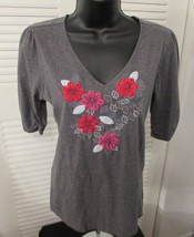 Tommy Hilfiger V-Neck 3/4 Sleeve Gray Blouse Em... - $9.89
