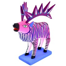 "Handmade Alebrijes Oaxacan Painted Carved Wood Folk Art Hot Pink Elk 7"" Figure image 1"