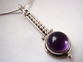 Purple Amethyst Decorative Stem 925 Sterling Silver Pendant Corona Sun J... - $8.90
