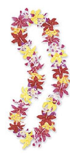 Hawaiian Hawaii Rainbow Silk Flower Lei Luau Party Hula Wedding Graduation leis