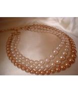 """Vintage 3 Strand Champagne Necklace """"JAPAN"""" - $14.00"""