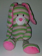 Baby Ganz Knitties Bunny Rabbit Plush Lovey Pink Green White Stripes Rattle Toy - $19.75