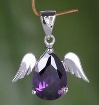 925 Solid Sterling Silver Angel Wings Amethyst Gemstone Pendant Necklace - $15.83