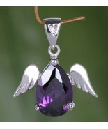 925 Solid Sterling Silver Angel Wings Amethyst Gemstone Pendant Necklace - $15.83