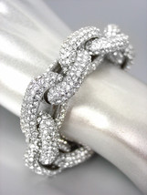 STUNNING Chunky Designer Style Silver CZ Crystals Chain Links Bracelet - $1.708,83 MXN