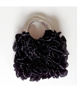 Mini black ruffled bangle bag / purse / corsage - $29.95
