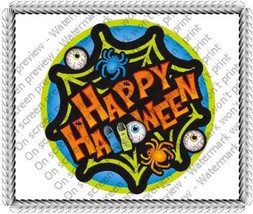 1/4 Sheet ~ Happy Halloween Green Spiderweb Birthday ~ Edible Image Cake... - $8.54