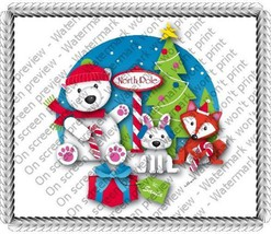 1/4 Sheet ~ Christmas North Pole Animals Birthday ~ Edible Image Cake/Cu... - $8.54