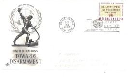 United Nations First Day of Issue Cover 13 cents Disarmament with Cachet - $2.99
