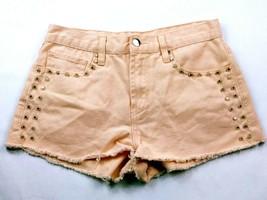 Forever 21 Women's Booty Shorts Size 26 Solid Orange Studded Raw Hem - $19.80