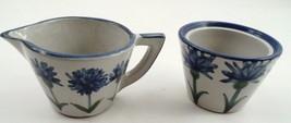 Louisville Stoneware Blue Cornflower Corn Flower Cream Creamer & Sugar Bowl Set - $26.68
